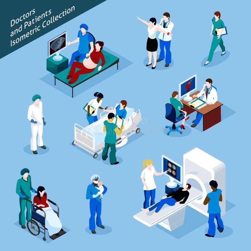 Leute-Ikonen-Satz Doktor-And Patient Isometric vektor abbildung