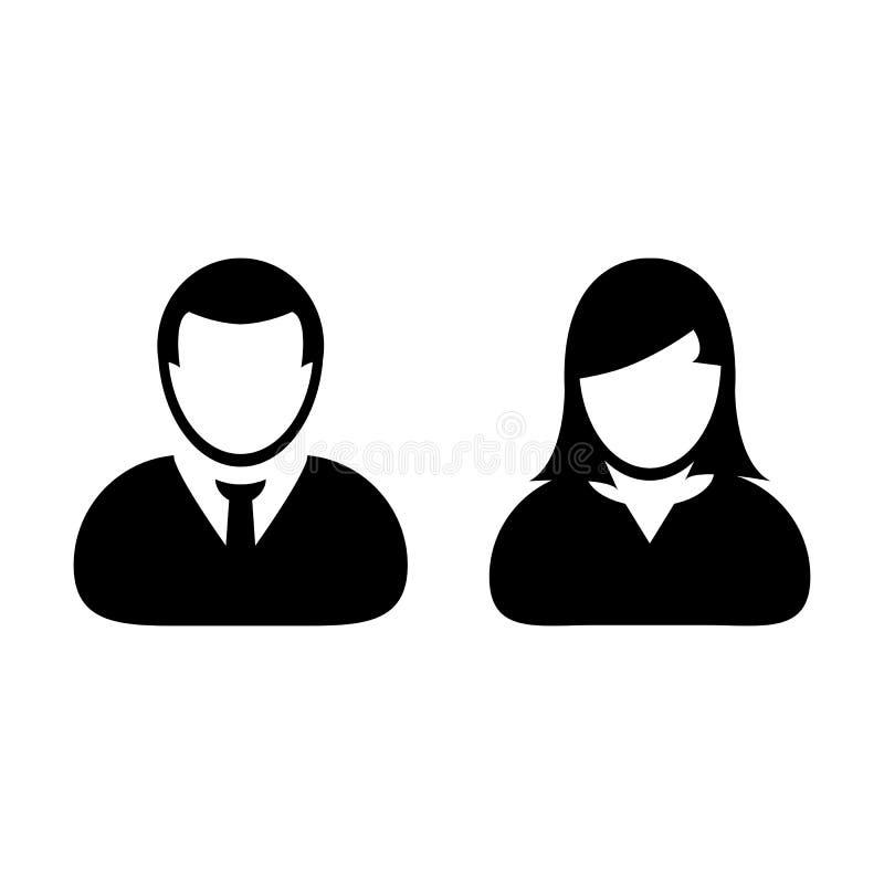 Leute-Ikonen-Vektor-Mann und Frau Person Profile Avatar vektor abbildung