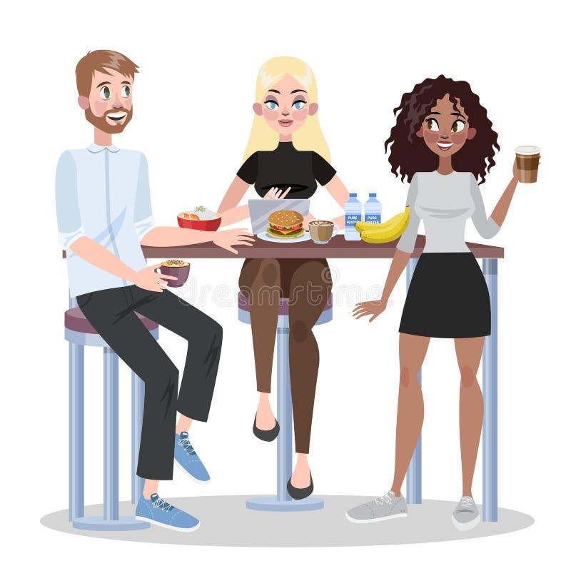 Leute im Büro essen zusammen zu Mittag Gruppe der Arbeitskraft lizenzfreie abbildung