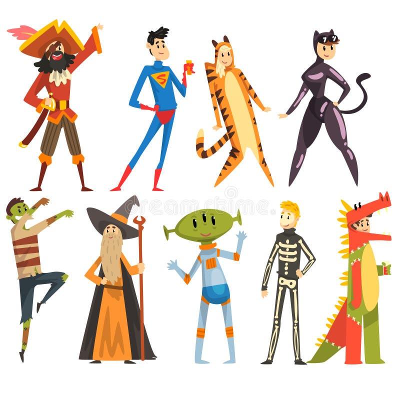 Leute im Karnevalskostümsatz, lustige Personen kleideten als Pirat, Magier, Tigerin, Supermann, Dinosaurier, Ausländer, Zombie an vektor abbildung
