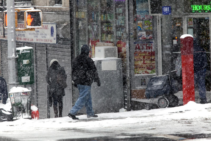 Leute im Schneesturm im Bronx lizenzfreie stockfotografie