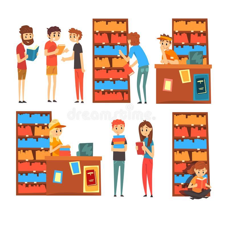 Leute im Shopschauen, -lesung und Bücher, Buchhandlung -wählend mit Bücherregalkarikatur-Vektor Illustration auf a stock abbildung