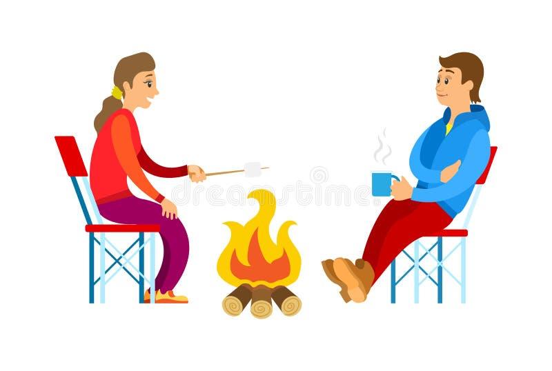 Leute im Sport-Klagen-, Picknick-und Feuer-Vektor stock abbildung