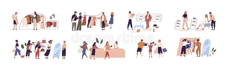 Leute kaufen flache Vektorgrafiken Set Happy Boutique-Kunden und freundliche Verkäufer Cartoon-Figuren vektor abbildung