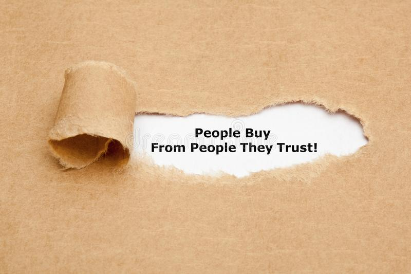 Leute kaufen von den Leuten, die sie vertrauen stockbilder