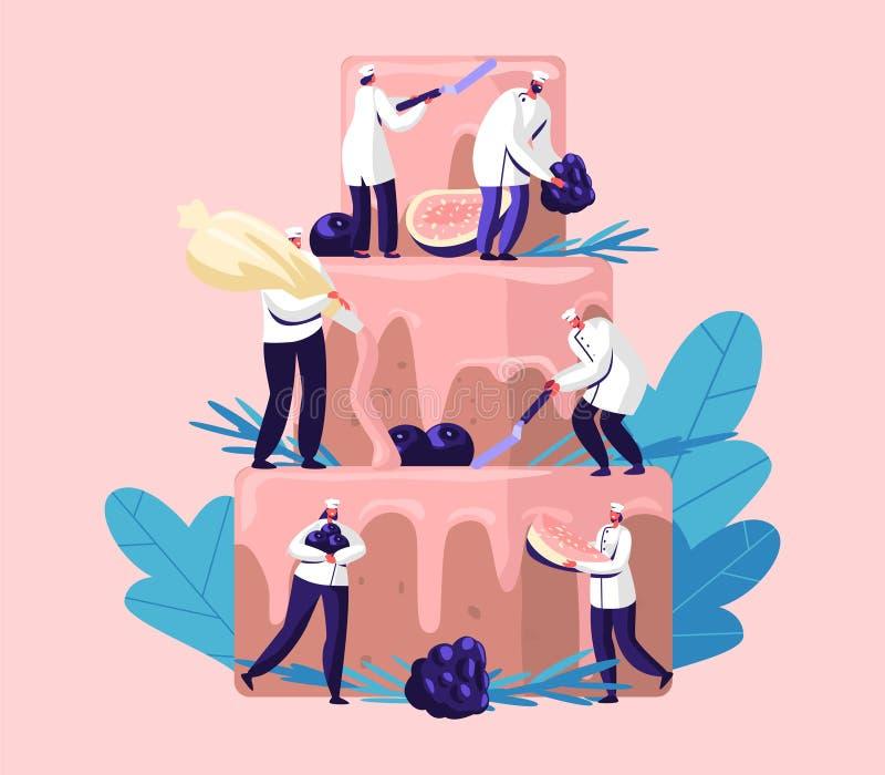 Leute kochen Festive Cake mit Sahne und Beeren Kleine Charaktere im Chef Uniform und in der Kappe enorme Torte verzierend Teamwor stock abbildung
