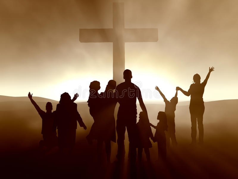 Leute am Kreuz des Jesus Christus lizenzfreie abbildung