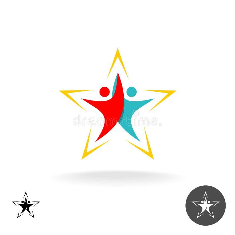 Leute-Logo Zwei steigende menschliche Schattenbilder lizenzfreie abbildung