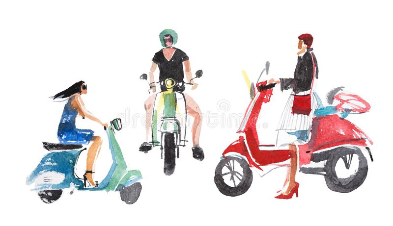 Leute Mann- und Frauenreiten auf ihren Motorrädern lizenzfreie abbildung