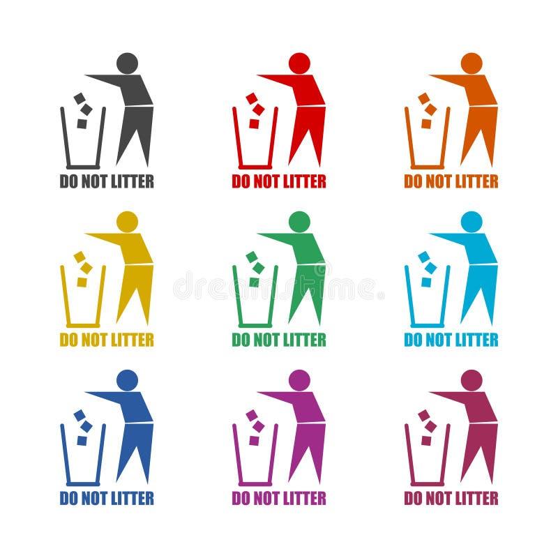 Leute mit Abfallzeichen, verunreinigen nicht Ikone oder Logo, Farbsatz lizenzfreie abbildung