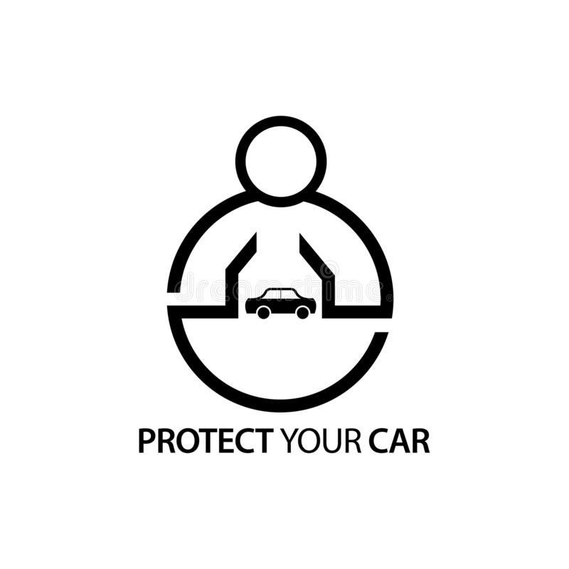 Leute mit Autoikone Konzept von Ihr Auto schützen lizenzfreie abbildung