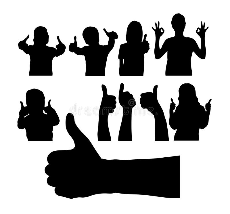 Leute mit den Daumen herauf Schattenbild, Zeichen und Symbol, Kunstvektordesign vektor abbildung