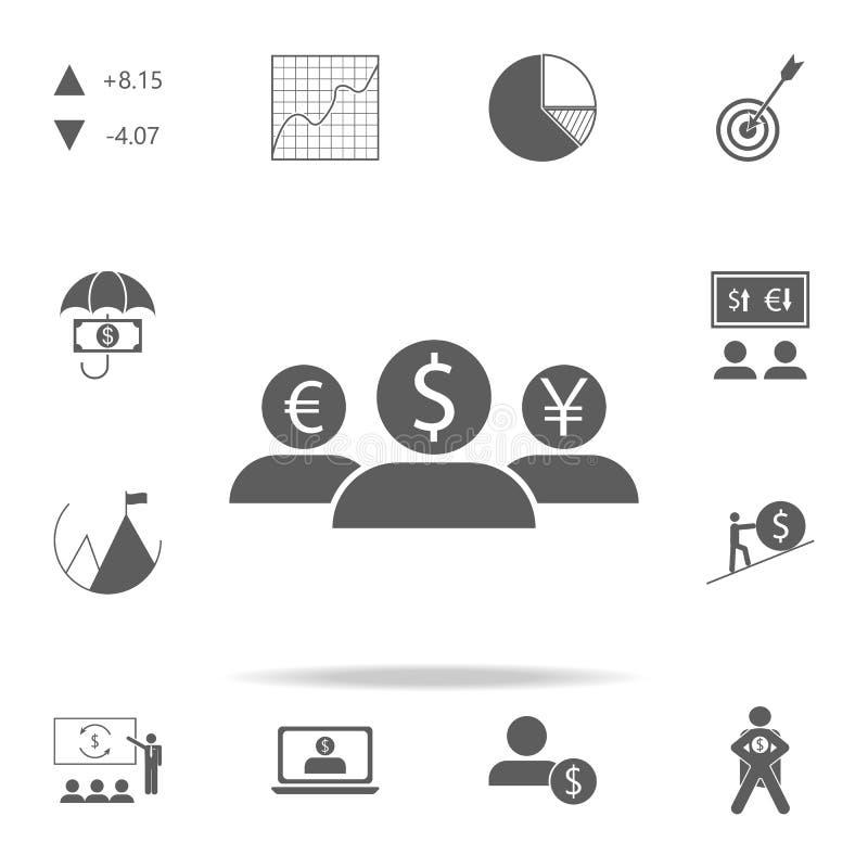 Leute mit den Köpfen der unterschiedlichen Währungsikone Finanzieren Sie Ikonenuniversalsatz für Netz und Mobile vektor abbildung