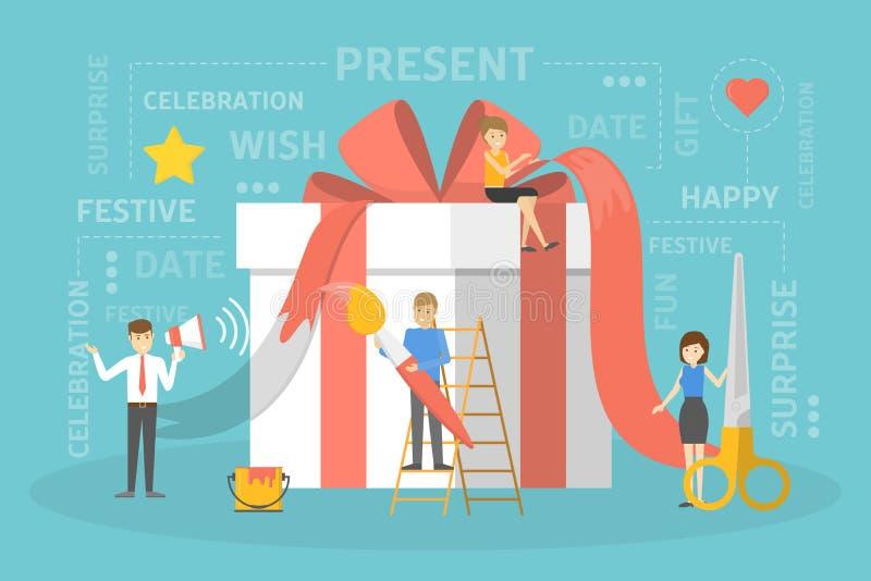 Leute mit einer großen Geschenkbox vektor abbildung