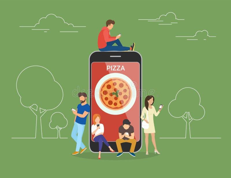 Leute mit Geräten unter Verwendung der Smartphones draußen für Einrichtungspizza online stock abbildung