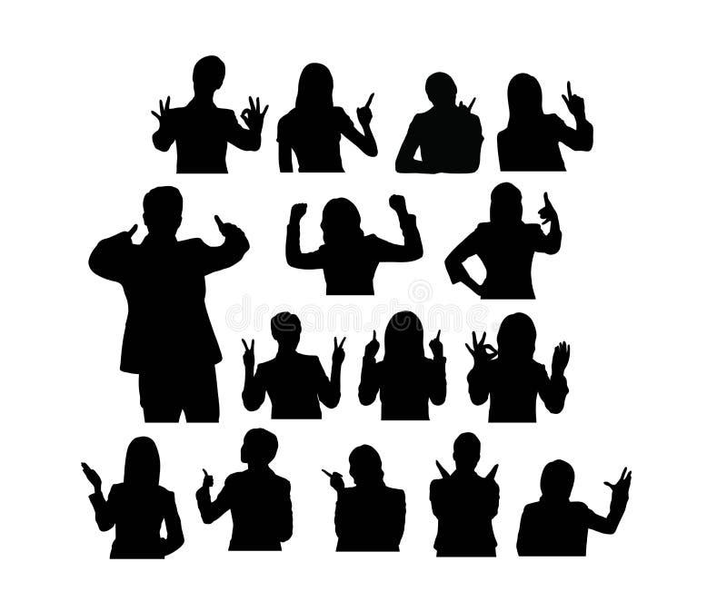 Leute mit Gesten-Finger-Schattenbildern stock abbildung