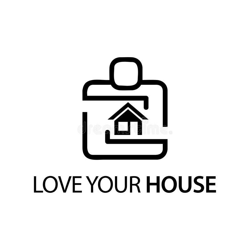 Leute mit Hausikone Konzept der Liebe Ihr Haus lizenzfreie abbildung