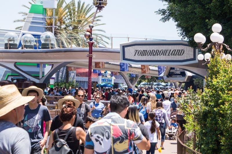 Leute mit Kindern auf einem Weg in Disneyland parken Schalten Sie eine faszinierende Anziehungskraft ein stockbilder