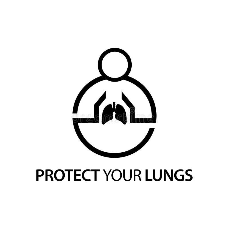 Leute mit Lungeikone Konzept der Liebe Ihre Lungen lizenzfreie abbildung