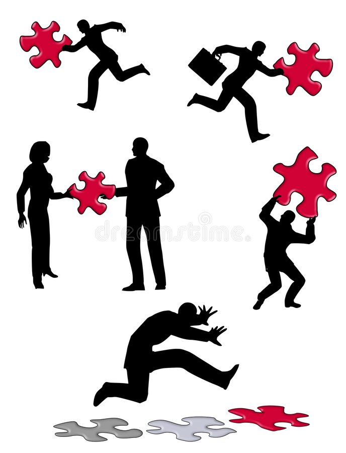 Leute mit Puzzlespiel-Stücken lizenzfreie abbildung