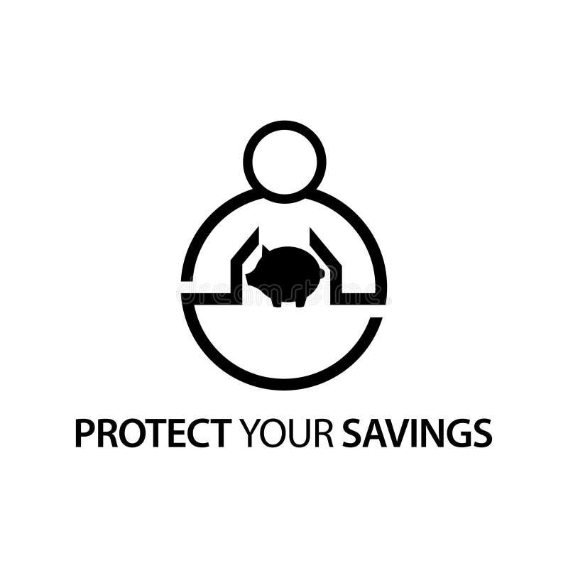 Leute mit Sparschweinikone Konzept von Ihre Einsparungen schützen vektor abbildung