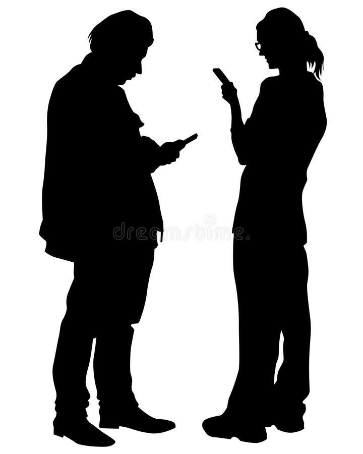 Leute mit Telefon lizenzfreie abbildung