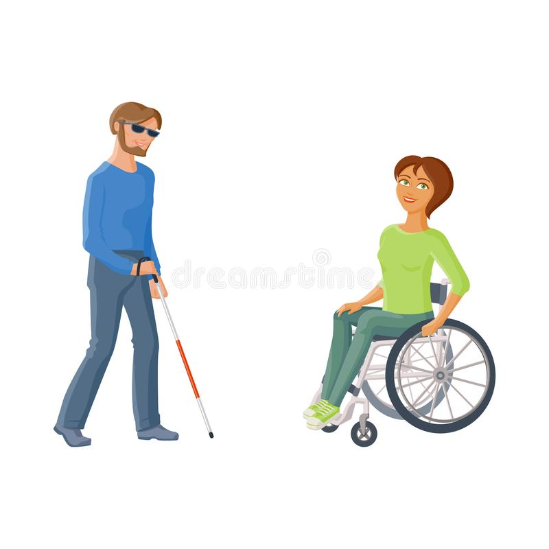 Leute mit Unfähigkeit - Frau im Rollstuhl, Blinder lizenzfreie abbildung