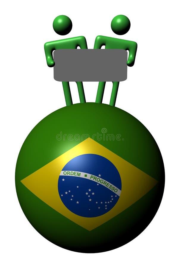 Leute mit Zeichen auf Brasilien-Markierungsfahnenkugel stock abbildung