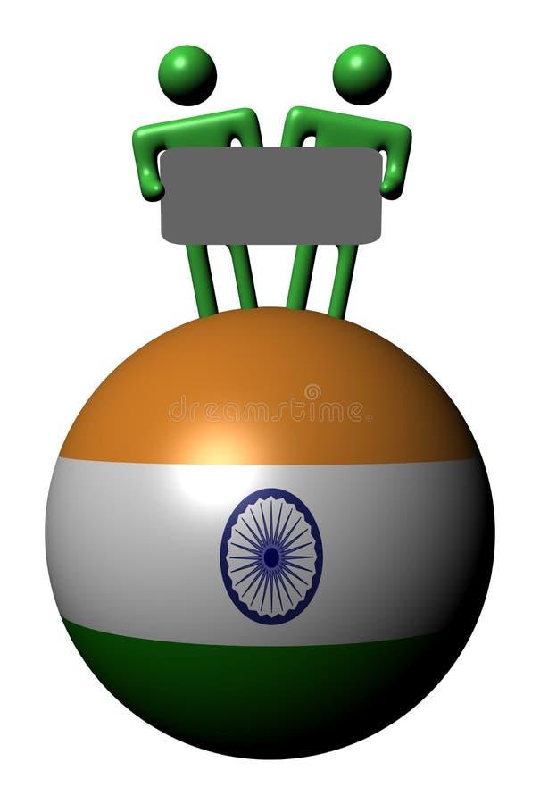 Leute mit Zeichen auf Indien-Markierungsfahnenkugel lizenzfreie abbildung