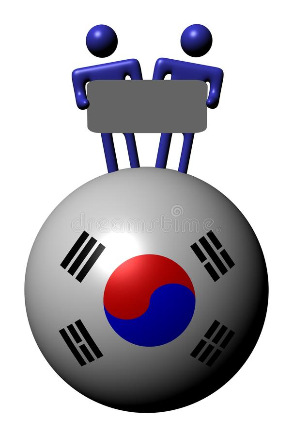 Leute mit Zeichen auf Südkorea-Markierungsfahnenkugel lizenzfreie abbildung