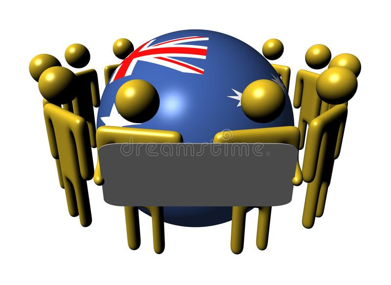 Leute mit Zeichen- und Australien-Markierungsfahnenkugel vektor abbildung