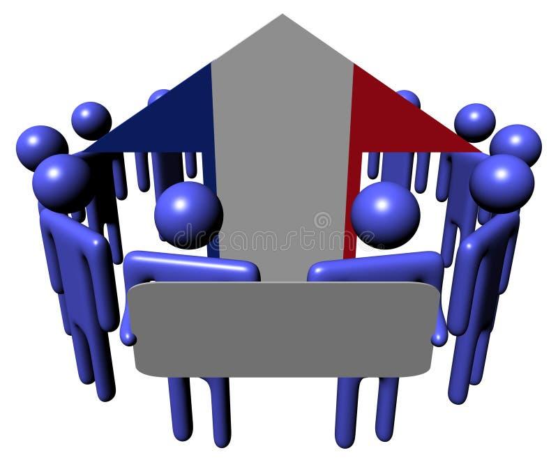 Leute mit Zeichen- und Frankreich-Markierungsfahnenpfeil vektor abbildung