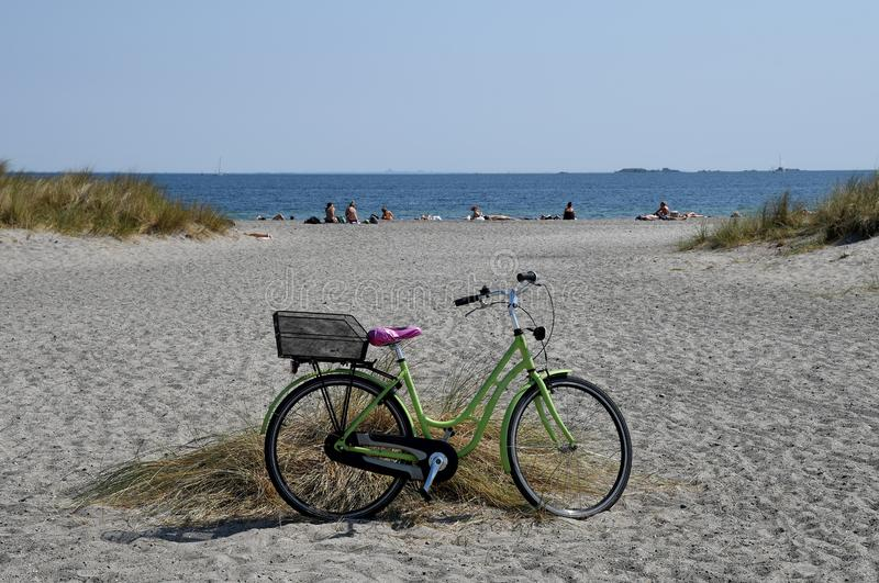 Leute nehmen Sonnenbad in der SommerHitzewelle in Dänemark lizenzfreie stockbilder
