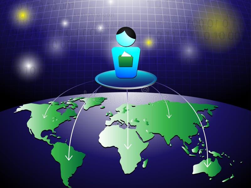 Leute-Ordner-Kugel-Netz-Hintergrund lizenzfreie abbildung