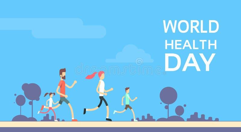 Leute-rüttelnder Sport-Familien-Eignungs-Lauftrainings-Weltgesundheits-Tag vektor abbildung