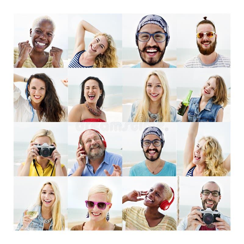 Leute-Satz des Gesichts-Verschiedenartigkeits-menschliches Gesichts-Konzeptes stockbild