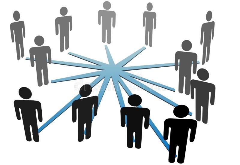 Leute schließen im Sozialmedianetz oder -geschäft an