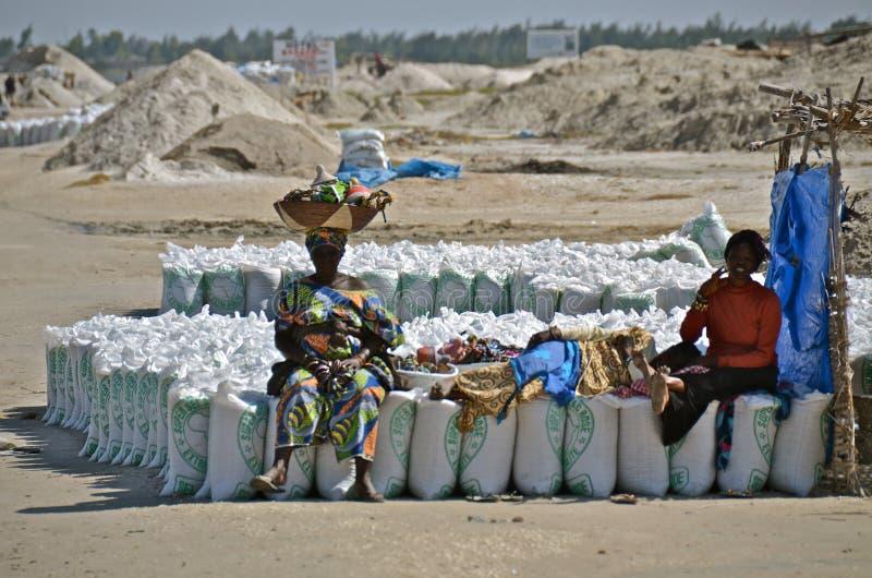 Leute in Senegal mit Taschen stockfotografie