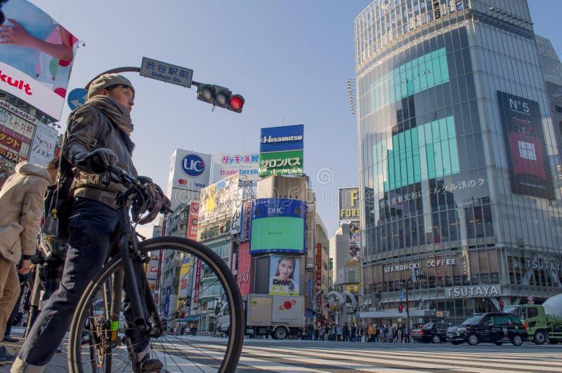 Leute in Shibuya-Überfahrt, Japan lizenzfreies stockbild