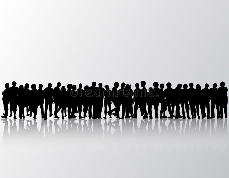 Leute silhouettieren Gruppenfrauen und -männer vektor abbildung