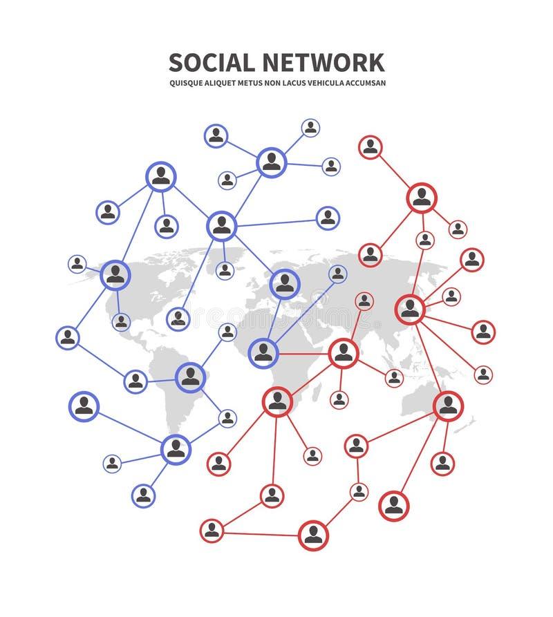 Leute socia Netze und Telekommunikation, menschliche Links vector Konzept mit den Personen, die Informationsikonen teilen lizenzfreie abbildung