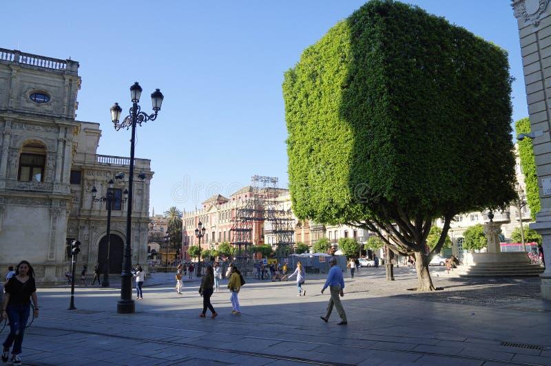 Leute am sonnigen Nachmittag in der Hauptstraße in alter Sevilla-Mitte spanien stockbilder
