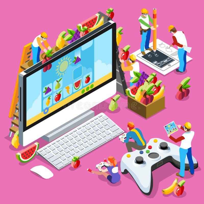 Leute-Spiel-Computer-Videospiel-isometrische Vektor-Illustration vektor abbildung