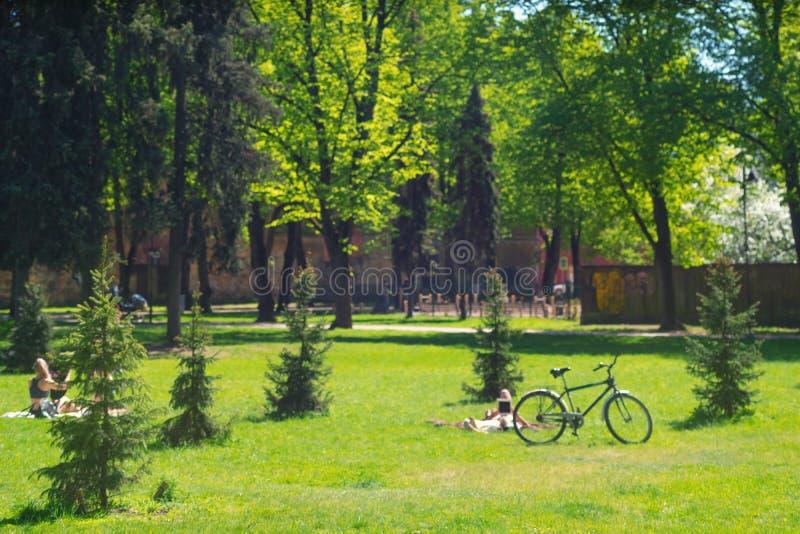 Leute stehen im Park still stockbilder