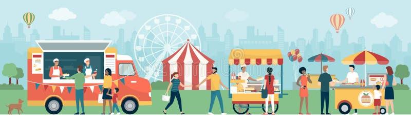 Leute am Straßennahrungsmittelfestival im Stadtpark stock abbildung
