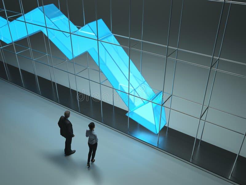 Leute studieren den Pfeil von fallenden Statistiken stock abbildung