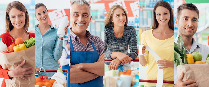 Leute am Supermarkt stockfoto