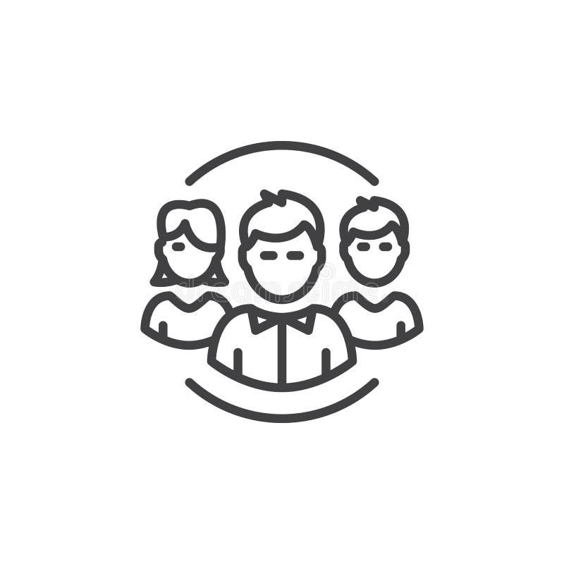 Leute, Teamlinie Ikone, Entwurfsvektorzeichen, lineares Piktogramm lokalisiert auf Weiß lizenzfreie abbildung