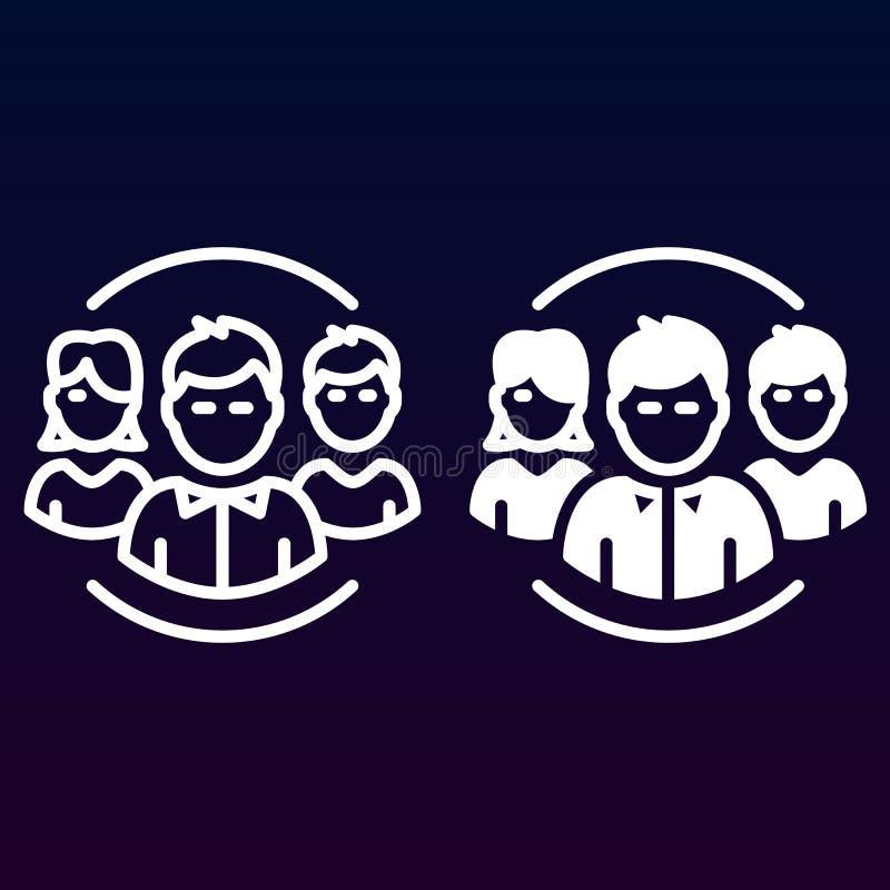 Leute, Teamlinie und feste Ikone, Entwurf und gefülltes Vektorzeichen-, lineares und vollespiktogramm lokalisiert auf Weiß lizenzfreie abbildung