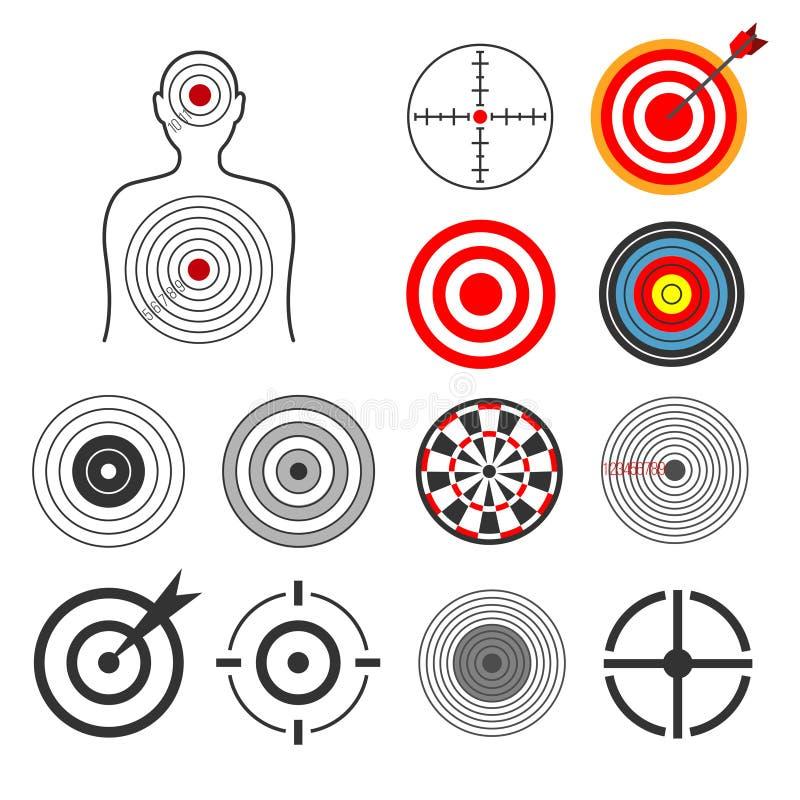 Leute, Tiere, Pfeil, Schattenbildschießenziel-Vektorsatz vektor abbildung